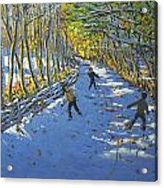 Yellow Trees  Allestree Park Acrylic Print by Andrew Macara