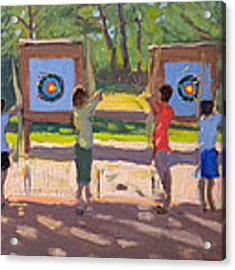 Young Archers Acrylic Print by Andrew Macara