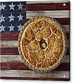 Apple Pie On Folk Art  American Flag Acrylic Print