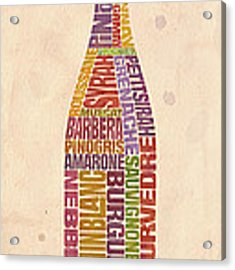 Burgundy Wine Word Bottle Acrylic Print