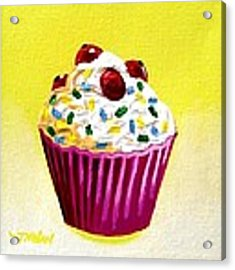 Cupcake With Cherries Acrylic Print