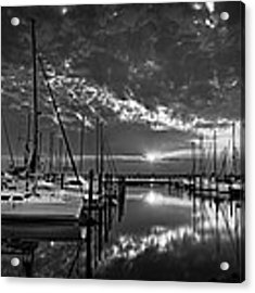 Marina At Fort Monroe Bw Acrylic Print by Williams-Cairns Photography LLC