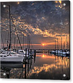 Marina At Fort Monroe Acrylic Print by Williams-Cairns Photography LLC