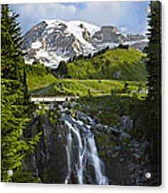 Myrtle Falls And Mount Rainier Mount Acrylic Print by Tim Fitzharris