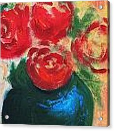 Red Roses In Blue Vase Acrylic Print by G Linsenmayer
