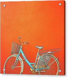 Blue Bike In Burano Italy Acrylic Print by Anne Hilde Lystad