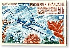 1965 French Polynesia Spearfishing Postage Stamp Acrylic Print
