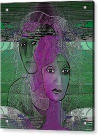 300 - Couple Purple - Green Acrylic Print by Irmgard Schoendorf Welch