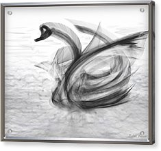 'a Fabric-ated Swan Melody ' Acrylic Print