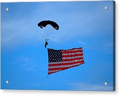 A Skydiver With An American Flag  Acrylic Print