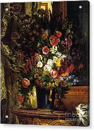 A Vase Of Flowers On A Console Acrylic Print