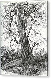 Acrylic Print featuring the drawing  Autumn Dancing Tree by Anna  Duyunova