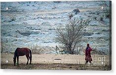 Balochi Shepherd In Pakistan Acrylic Print by Akhtar H Khan