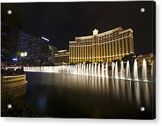 Bellagio Fountain In Las Vegas At Night Acrylic Print
