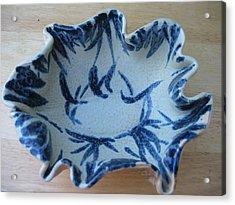 Blue Leafy Bowl Acrylic Print by Julia Van Dine