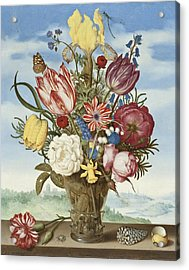 Bouquet Of Flowers On A Ledge Acrylic Print