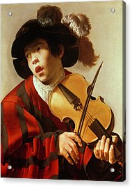 Boy Playing Stringed Instrument And Singing Acrylic Print by Hendrick Ter Brugghen