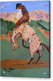 Acrylic Print featuring the painting  Bronco Rider On A Horse by Swabby Soileau