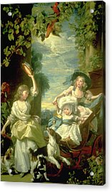 Bucoloic Painting By Honore Fragonard Acrylic Print by Carl Purcell