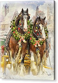 Christmas Clydesdales Acrylic Print