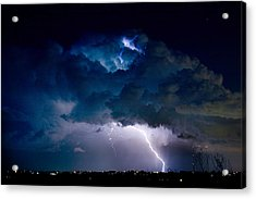 Clouds Of Light Lightning Striking Boulder County Colorado Acrylic Print by James BO  Insogna