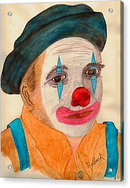 Clown Looking In A Mirror Acrylic Print by Thomas J Norbeck