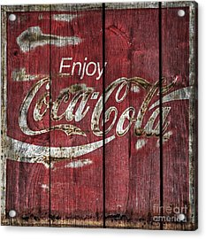 Coca Cola Sign Barn Wood Acrylic Print