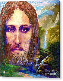 Contemporary Jesus Painting, Chalice Of Life Acrylic Print by Jane Small