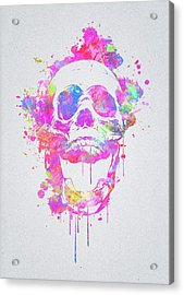 Cool And Trendy Pink Watercolor Skull Acrylic Print