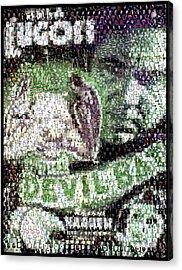 Acrylic Print featuring the mixed media  Devil Bat Movie Poster Horror Mosaic by Paul Van Scott