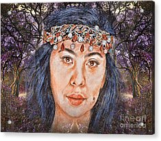 Filipina Beauty, Kaye Anne Toribio.in A Mystical Forest II Acrylic Print by Jim Fitzpatrick