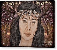 Filipina Model Kaye Anne Toribio In A Mystical Forest. Acrylic Print by Jim Fitzpatrick
