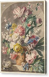 Flowers In An Urn And A Bird's Nest  Acrylic Print by Jan van Huysum