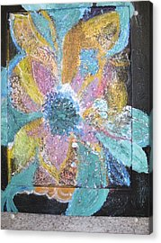 Flowover Flowers Uncropped  Acrylic Print by Anne-Elizabeth Whiteway
