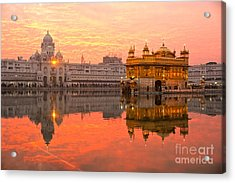Golden Temple Acrylic Print by Luciano Mortula