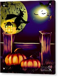 Halloween Witches Moon Bats And Pumpkins Acrylic Print by Annie Zeno