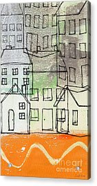 Houses By The River Acrylic Print by Linda Woods