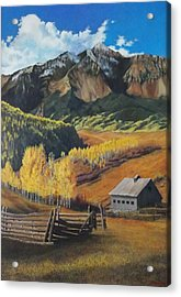 Acrylic Print featuring the painting  I Will Lift Up My Eyes To The Hills Autumn Nostalgia  Wilson Peak Colorado by Anastasia Savage Ealy