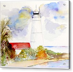 Acrylic Print featuring the painting  Impression St Marks Lighthouse by Sibby S