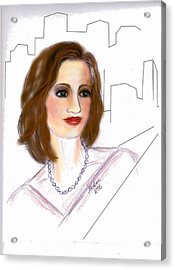 Acrylic Print featuring the drawing  In A New York Minute by Desline Vitto