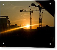 Acrylic Print featuring the photograph  Industrial Sunrise by Arik Baltinester