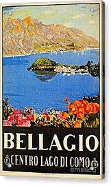 Italy Bellagio Lake Como Vintage Italian Travel Advert Acrylic Print