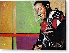 Jazz Guitarist Acrylic Print by Yuriy  Shevchuk