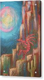 Kokopelli Moon Painting Acrylic Print by Anne-Elizabeth Whiteway