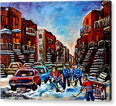 Late Afternoon Street Hockey Acrylic Print by Carole Spandau