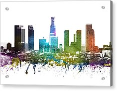 Los Angeles Cityscape 01 Acrylic Print by Aged Pixel