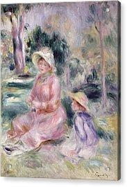 Madame Renoir And Her Son Pierre Acrylic Print by Pierre Auguste Renoir