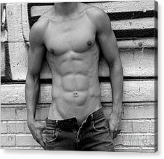 Male Abs Acrylic Print by Mark Ashkenazi