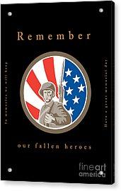 Memorial Day Greeting Card American Wwii Soldier Flag Acrylic Print by Aloysius Patrimonio