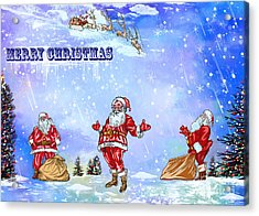 Acrylic Print featuring the painting  Merry Christmas To My Friends In The Faa by Andrzej Szczerski